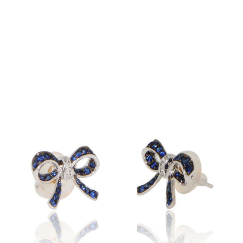 White Gold Earrings, Diamonds, Gemstone, Blue Sapphires, Bow Earrings, Unique, for women