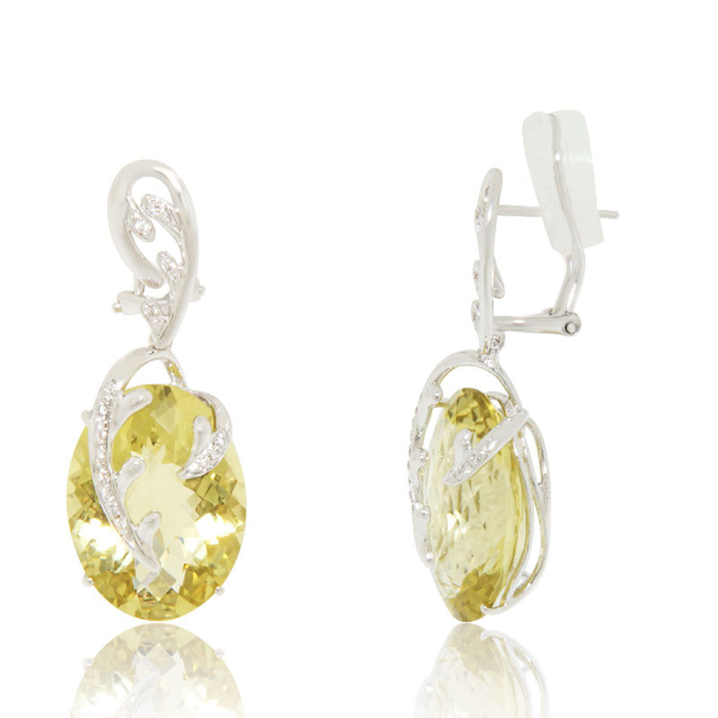 White Gold Earrings, Lemon Quartz, Diamonds, Gemstones, Unique, for women