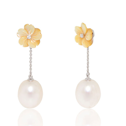 White Gold Earrings, Pearl Earrings, Flower Mother of Pearl, Unique, for women