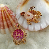 Rose Gold Earrings, Pink Sapphires, Black Diamonds, Gemstone, Unique, for women, Turtle Earrings