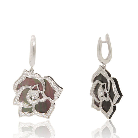 Unique, White gold, flower earrings, black mother of pearl, diamond, sale