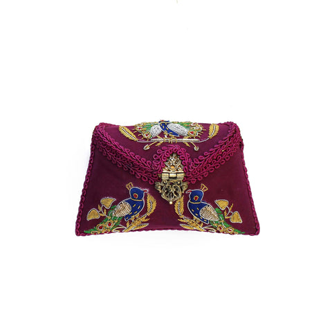 Embroidered Deep Magenta Clutch