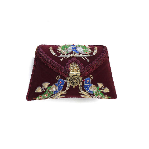 Embroidered Burgundy Clutch