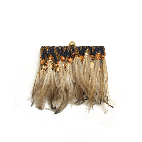 Embellished Deep Blue Feather Clutch