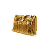 Gardenia Embellished Golden Evening Bag
