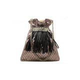 Metallic Embellished Large Pouch Bag