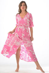 Kelsey Dress / Hot Pink Ikat