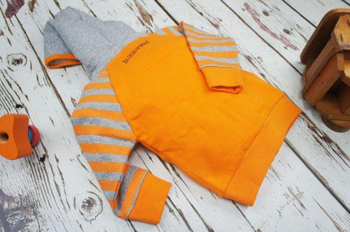 Striped Orange & Grey Hoodie
