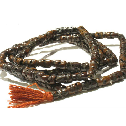 "Cow Bone Hand Carved ""Classic"" Skull Chocolate Brown Color Mala"