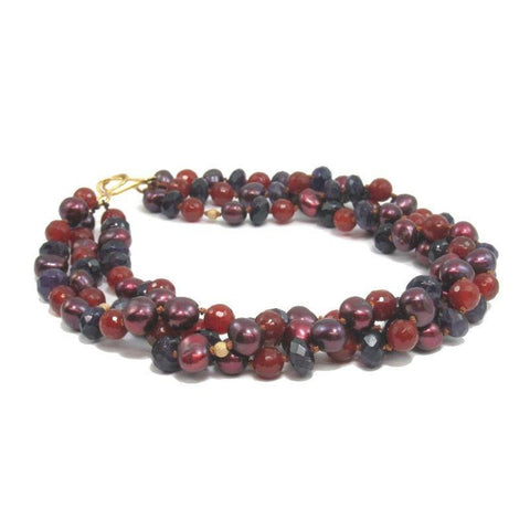 Fresh Water Pearl, Carnelian and Amethyst Necklace with Gold Plated Clasp
