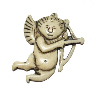 """Affectionate"" Cupid Hand Carved Cow Bone Pendant"