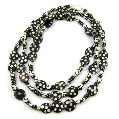 Polka Dotted Batik Cow Bone with Ethiopian Nickle Silver Beaded Necklace