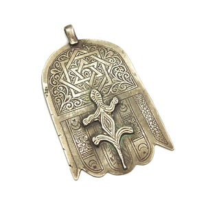 Moroccan Hamsa w/ Star of David Inscription and Salamander Overlay