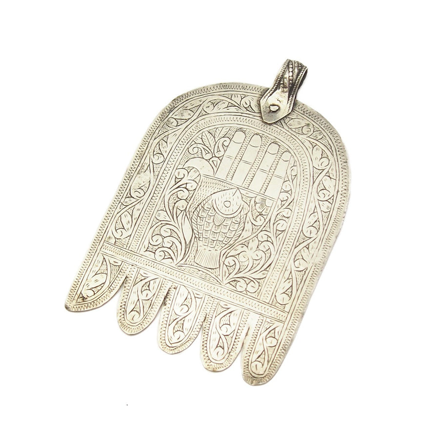 Moroccan Hamsa w/ Engraved Hand and Fish