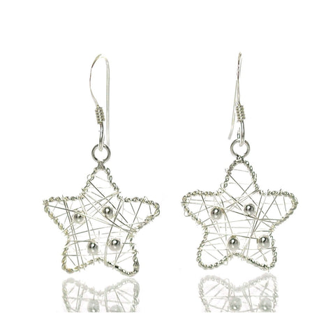 Sterling Wire Star Earrings