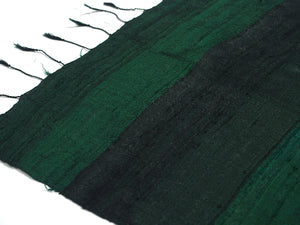 Ensemble 16: Thai 100% Raw Silk Forest Green Scarf with Laos Hilltribe Woven Heirloom Silk Patterned Shawl