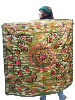 Ensemble 23: Vintage Suzani Tapestry with 100% Raw Silk Hand Dyed Scarf