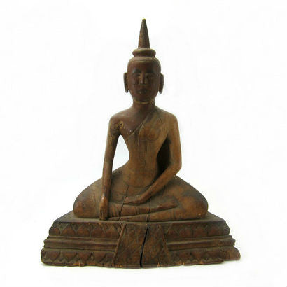 "Carved Wooden Buddha ""Calling Upon the Earth to Witness the Defeat of Evil"" ca. 1920-40"