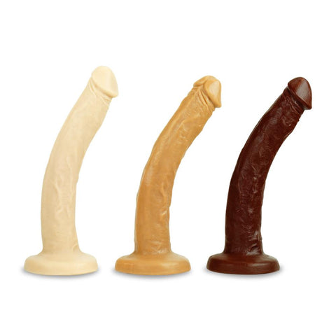 Vixen Creations VixSkin Slim Dildo Vanilla Caramel and Chocolate