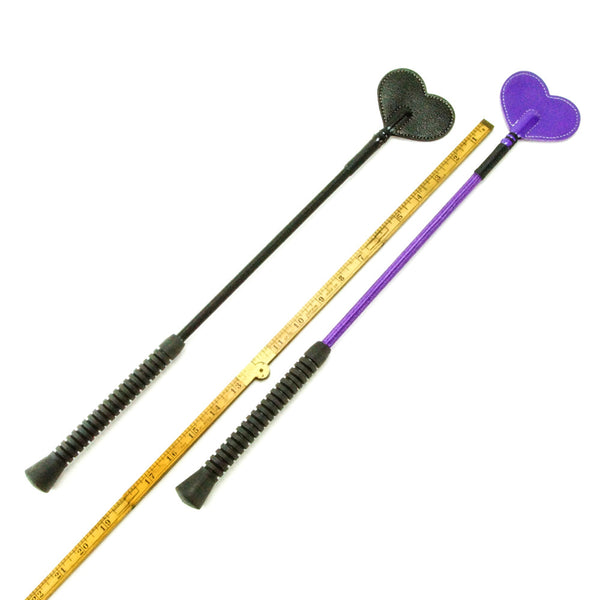 Kookie Intl 20 Inch Heart Riding Crop Purple Black Scale