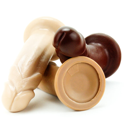 Vixen Creations VixSkin Maverick Dildo Vanilla Caramel and Chocolate Close Up and Base