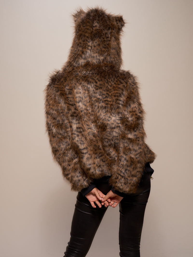Classic Savannah Cat Faux Fur Bomber
