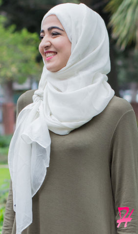 Plain Viscose Maxi Hijab - Cream