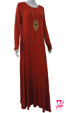 A-Line Long Sleeve Maxi Dress with Pockets - Rust