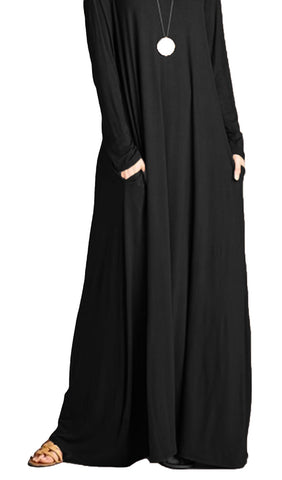 A-Line Long Sleeve Maxi Dress with Pockets - Black