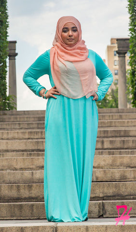 A-Line Long Sleeve Maxi Dress with Pockets - Mint