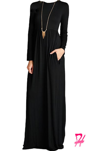 High Waist Long Sleeve Maxi Dress with Pockets - Black