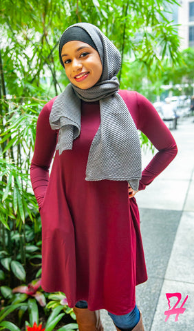 Mock Neck Long Sleeve Dress with Pockets - Burgundy