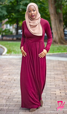 High Waist Long Sleeve Maxi Dress with Pockets - Burgundy