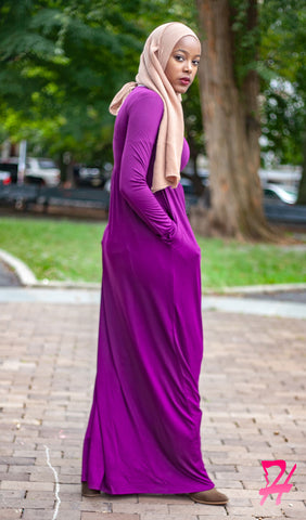 High Waist Long Sleeve Maxi Dress with Pockets - Plum