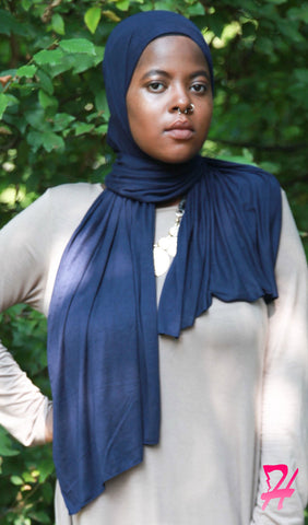 Cotton Jersey Hijab Scarf - Navy Blue