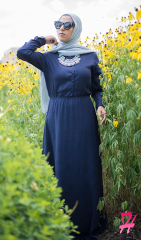 Sumaya Long Sleeve Maxi Dress - Navy