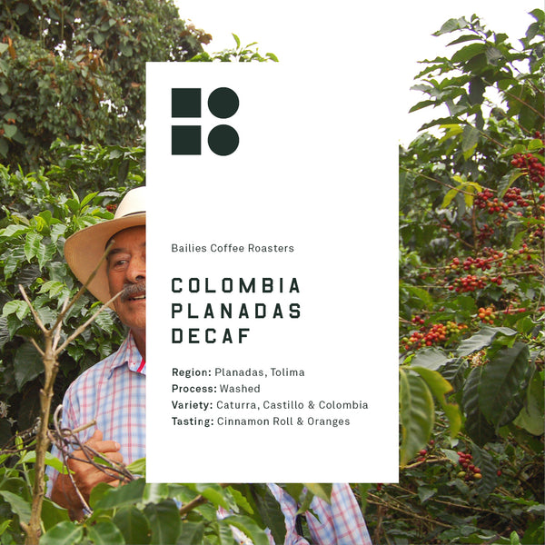 Decaf Colombia Planadas Tolima Washed - Bailies Coffee Roasters