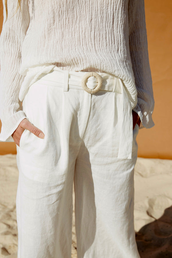 Friend of Audrey Fleur Linen Pants White