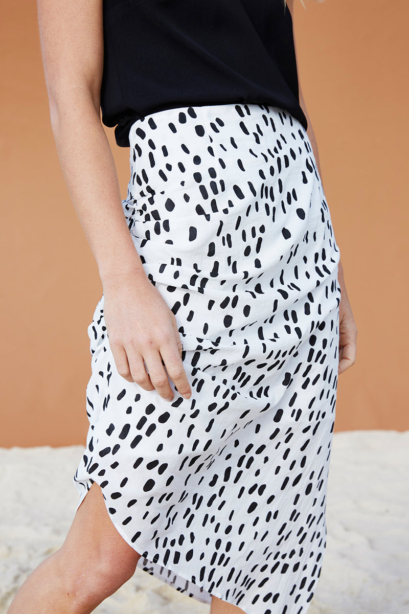 Lucie Ruched Midi Skirt