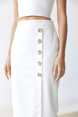 Friend of Audrey Dylan Buttoned Midi Skirt - White