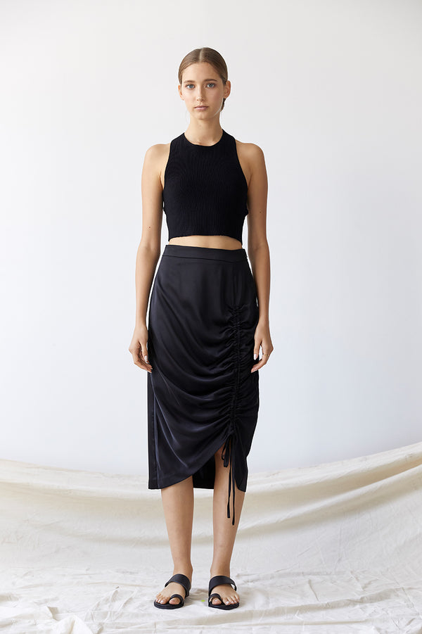 Friend of Audrey Sienna Drawstring Midi Skirt Black