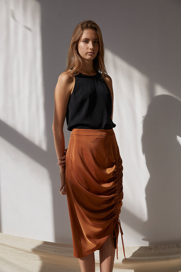 Friend of Audrey Sienna Drawstring Midi Skirt Tan