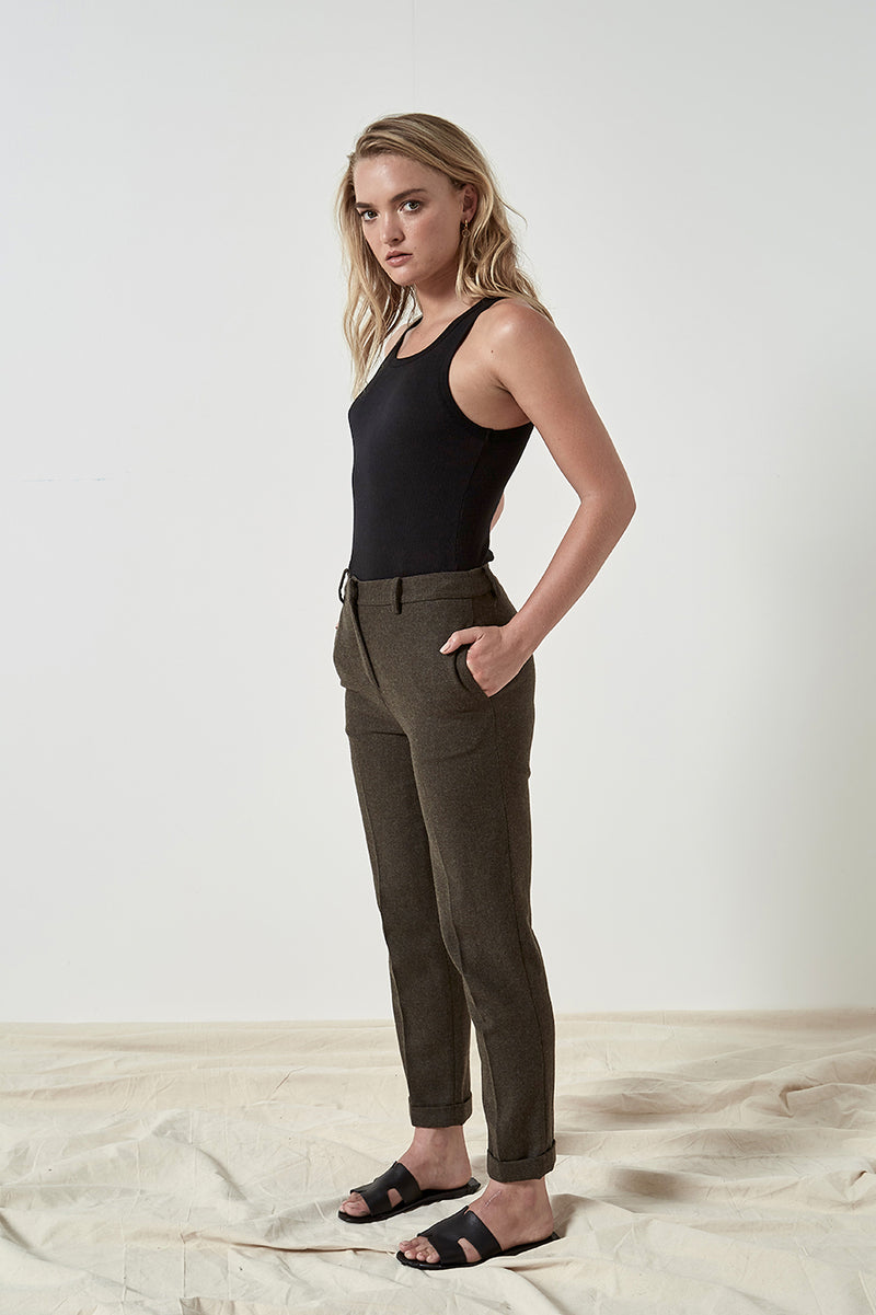 Friend of Audrey Ellen Wool 7/8 Trousers Olive