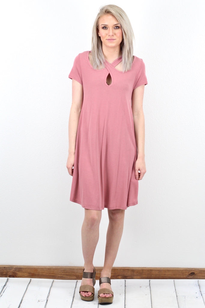 Strappy Keyhole Neck Modal Dress {Marsala}