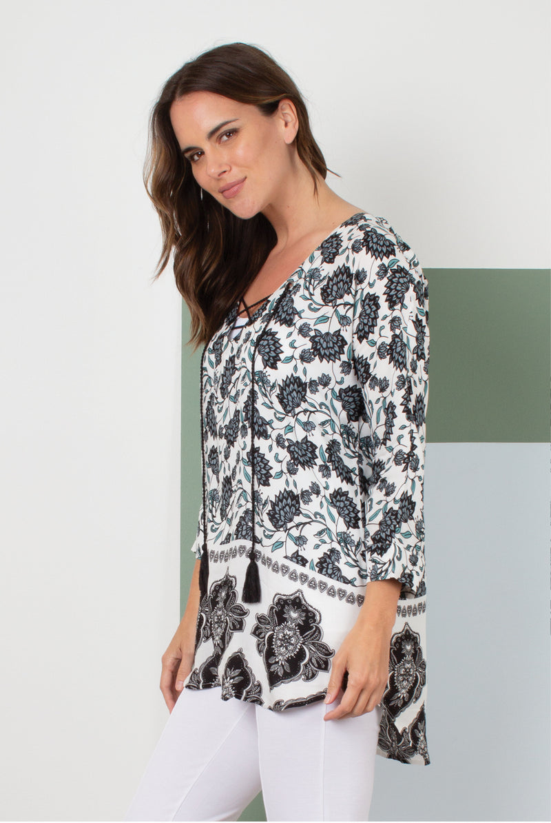Lotus Flower Top In Black By Simply Noelle L/XL