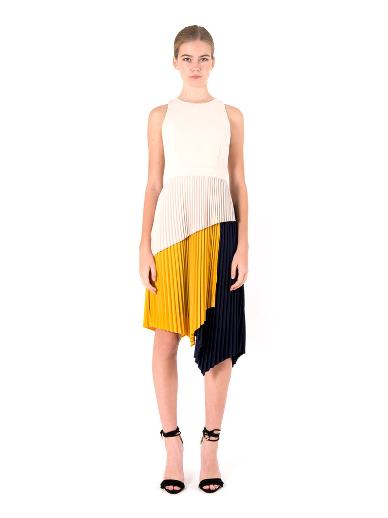 Tiered Colourblock Pleated Dress