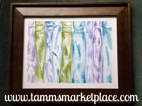 Original Watercolor Painting using Greens, Blues and Purple colors Framed QWA039
