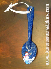 Blue Metal Spoon with Hand Painted Snowman MKO005