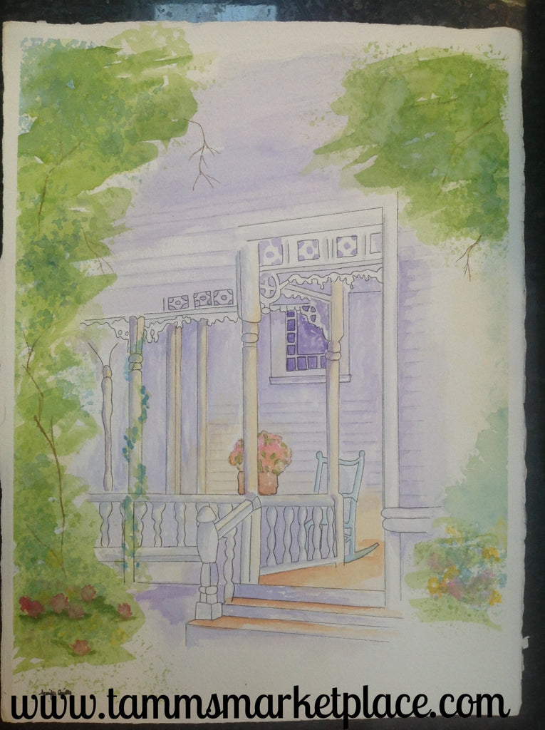 "Original watercolor painting of Victorian front porch with pen and ink outlines. 15""x11"" QWA006"