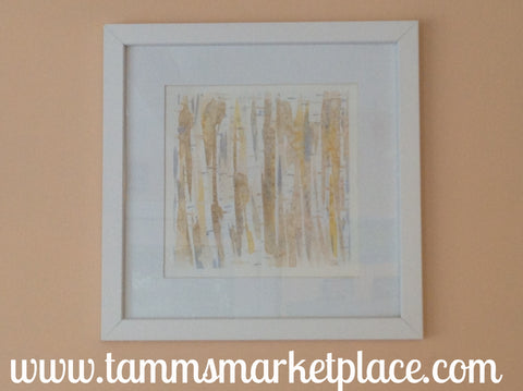 "Birch Tree Trunks Watercolor Painting 12""x12"" Framed White or Black (your choice) QWA014"